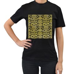 Damask2 Black Marble & Yellow Watercolor (r) Women s T Shirt (black)
