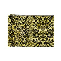 Damask2 Black Marble & Yellow Watercolor (r) Cosmetic Bag (large)
