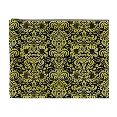 Damask2 Black Marble & Yellow Watercolor (r) Cosmetic Bag (xl)
