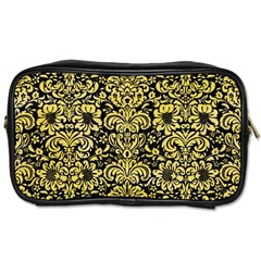 Damask2 Black Marble & Yellow Watercolor (r) Toiletries Bags 2 Side