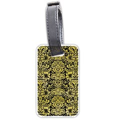 Damask2 Black Marble & Yellow Watercolor (r) Luggage Tags (two Sides)