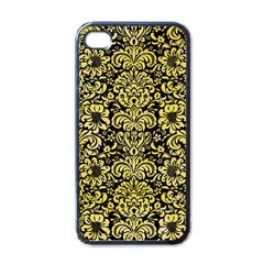 Damask2 Black Marble & Yellow Watercolor (r) Apple Iphone 4 Case (black)