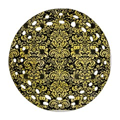 Damask2 Black Marble & Yellow Watercolor (r) Ornament (round Filigree)