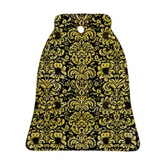 Damask2 Black Marble & Yellow Watercolor (r) Bell Ornament (two Sides)