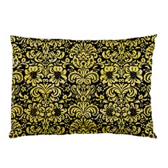 Damask2 Black Marble & Yellow Watercolor (r) Pillow Case (two Sides)