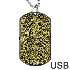 Damask2 Black Marble & Yellow Watercolor (r) Dog Tag Usb Flash (one Side)