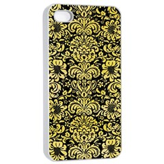 Damask2 Black Marble & Yellow Watercolor (r) Apple Iphone 4/4s Seamless Case (white)