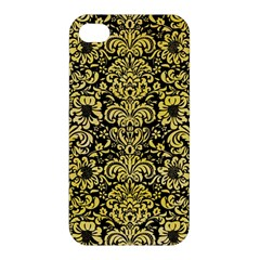 Damask2 Black Marble & Yellow Watercolor (r) Apple Iphone 4/4s Hardshell Case