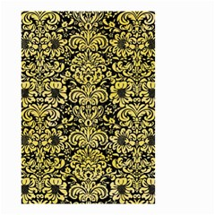 Damask2 Black Marble & Yellow Watercolor (r) Small Garden Flag (two Sides)