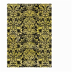 Damask2 Black Marble & Yellow Watercolor (r) Large Garden Flag (two Sides)
