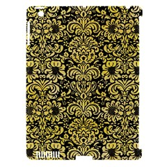 Damask2 Black Marble & Yellow Watercolor (r) Apple Ipad 3/4 Hardshell Case (compatible With Smart Cover)