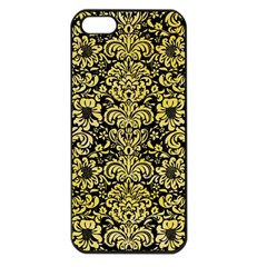 Damask2 Black Marble & Yellow Watercolor (r) Apple Iphone 5 Seamless Case (black)