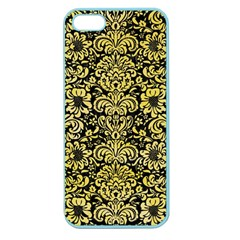 Damask2 Black Marble & Yellow Watercolor (r) Apple Seamless Iphone 5 Case (color)