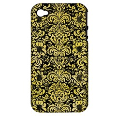 Damask2 Black Marble & Yellow Watercolor (r) Apple Iphone 4/4s Hardshell Case (pc+silicone)