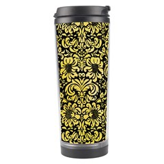 Damask2 Black Marble & Yellow Watercolor (r) Travel Tumbler