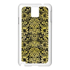 Damask2 Black Marble & Yellow Watercolor (r) Samsung Galaxy Note 3 N9005 Case (white)