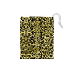 Damask2 Black Marble & Yellow Watercolor (r) Drawstring Pouches (small)