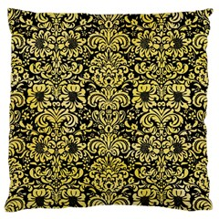 Damask2 Black Marble & Yellow Watercolor (r) Large Flano Cushion Case (one Side)