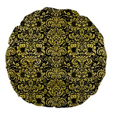 Damask2 Black Marble & Yellow Watercolor (r) Large 18  Premium Flano Round Cushions