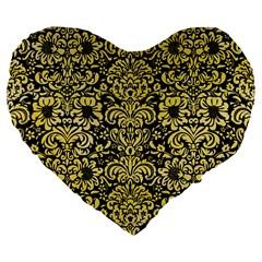 Damask2 Black Marble & Yellow Watercolor (r) Large 19  Premium Flano Heart Shape Cushions