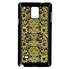 Damask2 Black Marble & Yellow Watercolor (r) Samsung Galaxy Note 4 Case (black)