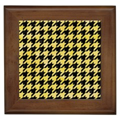 Houndstooth1 Black Marble & Yellow Watercolor Framed Tiles