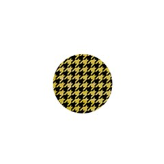 Houndstooth1 Black Marble & Yellow Watercolor 1  Mini Magnets