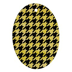 Houndstooth1 Black Marble & Yellow Watercolor Ornament (oval)