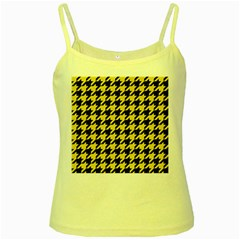 Houndstooth1 Black Marble & Yellow Watercolor Yellow Spaghetti Tank