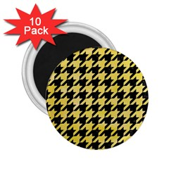 Houndstooth1 Black Marble & Yellow Watercolor 2 25  Magnets (10 Pack)