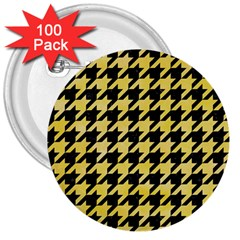 Houndstooth1 Black Marble & Yellow Watercolor 3  Buttons (100 Pack)