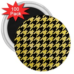 Houndstooth1 Black Marble & Yellow Watercolor 3  Magnets (100 Pack)