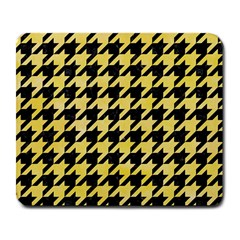 Houndstooth1 Black Marble & Yellow Watercolor Large Mousepads
