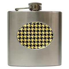 Houndstooth1 Black Marble & Yellow Watercolor Hip Flask (6 Oz)