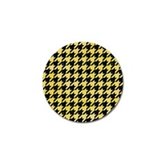 Houndstooth1 Black Marble & Yellow Watercolor Golf Ball Marker (4 Pack)