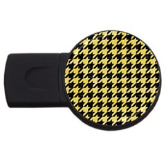 Houndstooth1 Black Marble & Yellow Watercolor Usb Flash Drive Round (2 Gb)