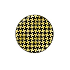 Houndstooth1 Black Marble & Yellow Watercolor Hat Clip Ball Marker (4 Pack)