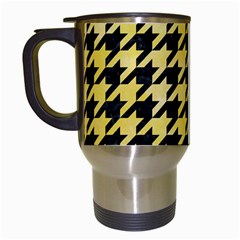 Houndstooth1 Black Marble & Yellow Watercolor Travel Mugs (white)