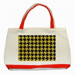 Houndstooth1 Black Marble & Yellow Watercolor Classic Tote Bag (red)