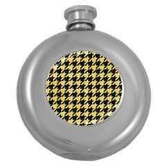 Houndstooth1 Black Marble & Yellow Watercolor Round Hip Flask (5 Oz)