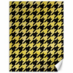Houndstooth1 Black Marble & Yellow Watercolor Canvas 12  X 16