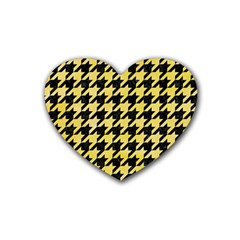 Houndstooth1 Black Marble & Yellow Watercolor Rubber Coaster (heart)