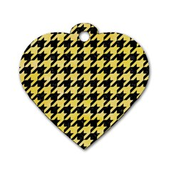 Houndstooth1 Black Marble & Yellow Watercolor Dog Tag Heart (two Sides)
