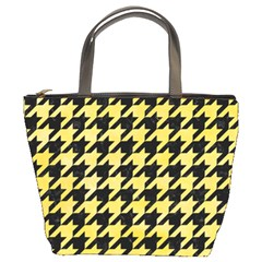 Houndstooth1 Black Marble & Yellow Watercolor Bucket Bags
