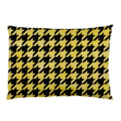 Houndstooth1 Black Marble & Yellow Watercolor Pillow Case