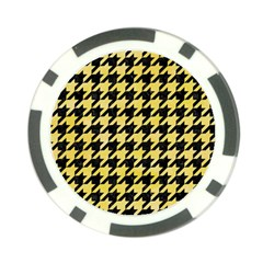 Houndstooth1 Black Marble & Yellow Watercolor Poker Chip Card Guard (10 Pack)