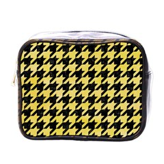 Houndstooth1 Black Marble & Yellow Watercolor Mini Toiletries Bags