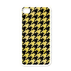 Houndstooth1 Black Marble & Yellow Watercolor Apple Iphone 4 Case (white)