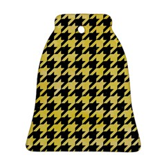 Houndstooth1 Black Marble & Yellow Watercolor Bell Ornament (two Sides)
