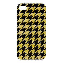 Houndstooth1 Black Marble & Yellow Watercolor Apple Iphone 4/4s Hardshell Case